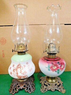 (2) 1890's VICTORIAN PARLOR GWTW OIL LAMP BASES - w/Pie-Crust Chimneys