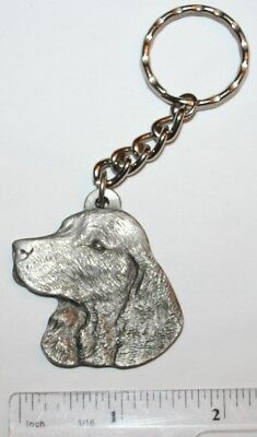 "American Water Spaniel Rawcliffe Pewter ""I Love My Dog"" Vintage Keychain"