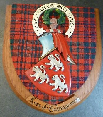 Vintage Old Scottish Carved Oak Clan Ross Plaque...100% Scottish