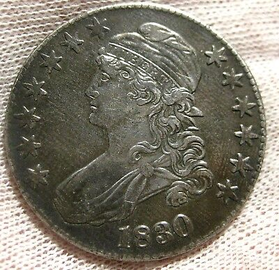 1830 Capped Bust Silver Half Dollar Almost Uncirculated