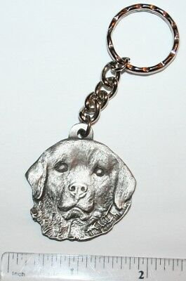 """Great Pyrenees Rawcliffe Pewter """"I Love My Dog"""" Vintage Keychain"""