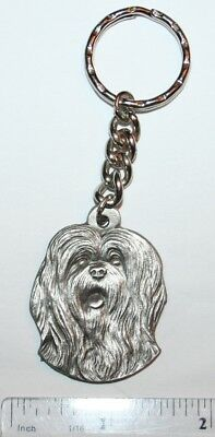 "Lhasa Apso Rawcliffe Pewter ""I Love My Dog"" Vintage Keychain"