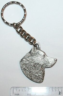 "Schipperke Rawcliffe Pewter ""I Love My Dog"" Vintage Keychain"