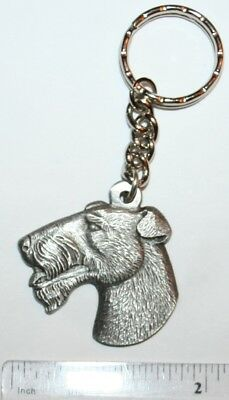 "Wire Haired Fox Terrier Rawcliffe Pewter ""I Love My Dog"" Vintage Keychain"