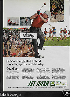 Aer Lingus Irish Airlines One Big Sportsman's Holiday Jet Irish 1960's Ad