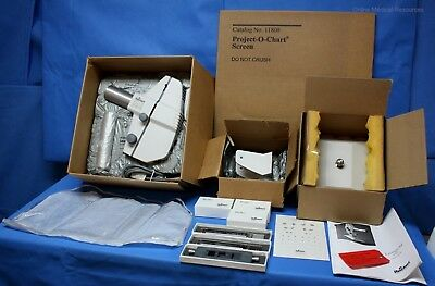 Reichert P-O-C Chart Projector 12084 Slides Spare Bulbs Yoke Table Mount Screen