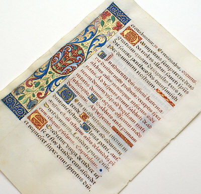 Illuminated Manuscript Medieval Book Of Hours Leaf 1470 Lovely Initials, Borders