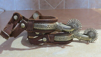 Handmade ? carved antique etched spurs cowboy collectible western vintage NICE