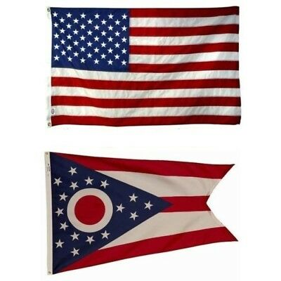 Ohio State and American Flag Combo, Made In USA, All Sizes, You Pick