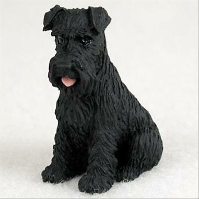 Schnauzer Black Uncropped Dog Tiny One Miniature Small Hand Painted Figurine