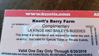 Knotts Berry Farm One Day Anytime Pass Ticket Adult Or Child Expires 6/30/18