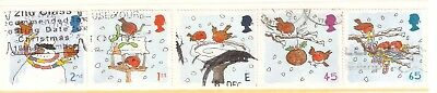 Collectible Great Britain 2001 USED Christmas Stamps: Snowman, Suet Ball, Nest