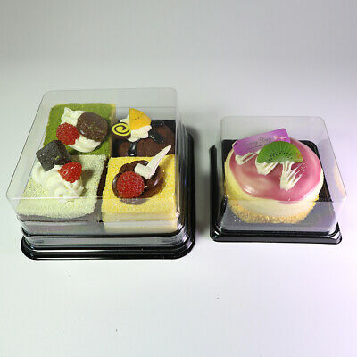 Clear Square Disposable Container Lid w/ Black Base For Mini Cake Dessert Sushi