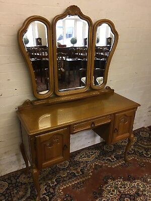 Stunning French Carved Oak Triple Mirror Dressing Table