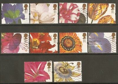 Collectible Great Britain 1997 USED Greetings Booklet Stamps: Flowers:Iris,Tulip
