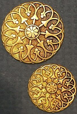 Matching Pair of Antique TW&W Paris back gilt & tinted buttons