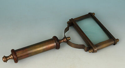 usable Vintage Copper navigation Map magnifying glass Statue