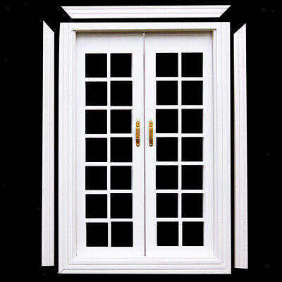 1:12th Dolls House Miniature White wooden Double French Doors & Frame DIY
