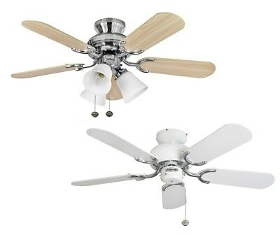 "Fantasia Capri Ceiling Fans 36"" White Stainless Steel Light Pullcord Sweepair"