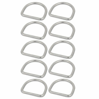 1 1/5 Inch Inner Width 304 Stainless Steel D Welded Ring Silver Tone 10pcs