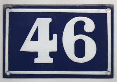 Old blue French house number 46 door gate plate plaque enamel metal sign steel