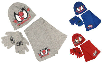 Spider-man Hat Scarf and Gloves Set Grey Red Or Blue Winter Hats Great Gifts