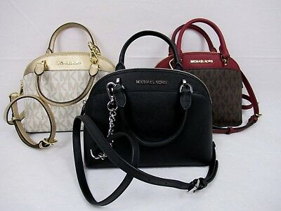 Michael Kors Leather Or Pvc Emmy Small Dome Satchel Bag Crossbody Various Colors