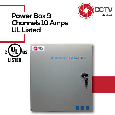 CCTV 9CH Security Camera Power Supply Box UL Listed 12VDC10Amp Over Load Protect