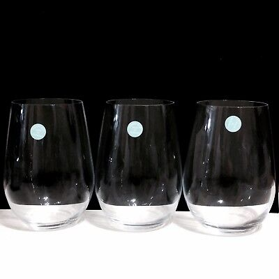 """a48a92ad8eac Set of 3 Tiffany   Co. Riedel O Stemless Wine Glasses 4.25""""H"""