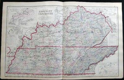 1882 Original Double Page Map Of Kentucky & Tennessee Hand Colored