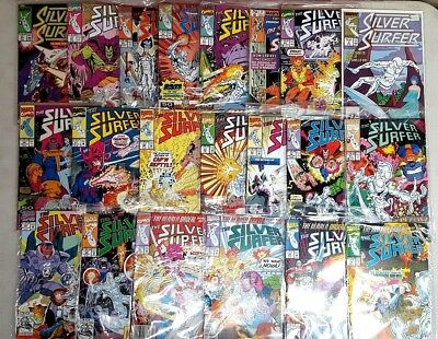 Vintage Collection LOT OF 21 MARVEL SILVER SURFER COMIC BOOKS ALL SLEEVED