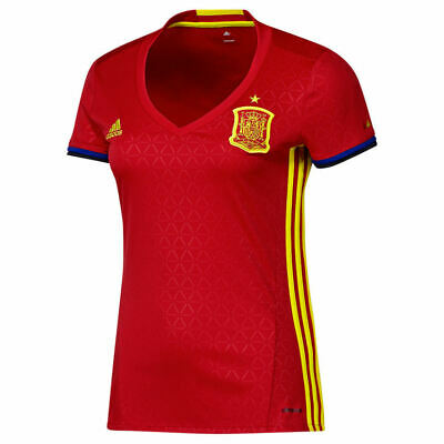 adidas Women's FEF Spain Football Home Jersey Fiited T Shirt Sport Gym Top Red