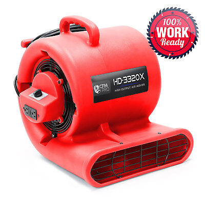 Carpet Dryer Air Mover 3 Speed 1/3 HP Blower Fan GFCI Outlets - Industrial - Red
