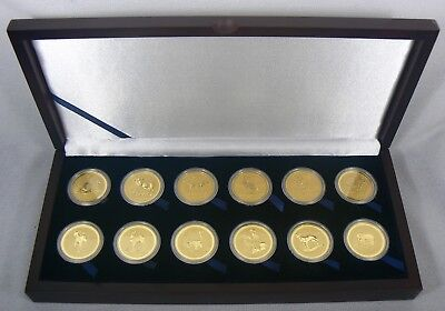 1996 - 2007 Australia Lunar 1 oz 12 Gold Coins .9999 Set with original box