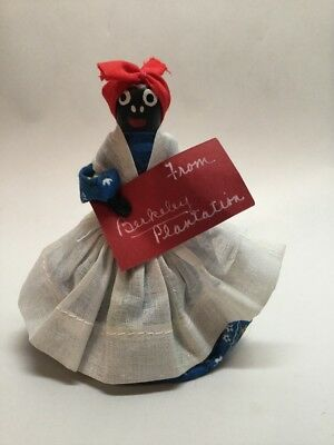 Vtg Black Americana Folk Art Dinner Bell Mammy Doll Berkeley Plantation Souvenir