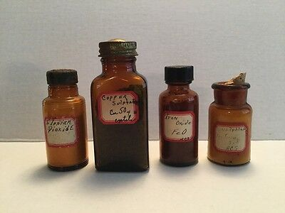Antique Pharmacy Apothecary Medicine Bottles Lot Of 4 Lab Drug RX46