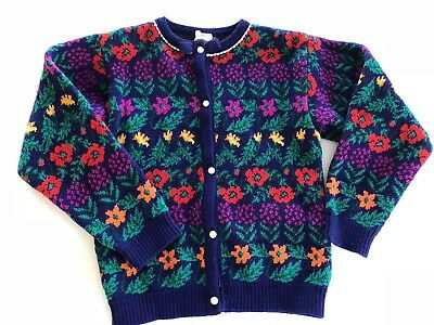 Vintage Girls Sz 6 Floral Acrylic Sweater Free Shipping