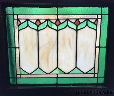 "1 of 2 Stained Leaded Glass Transom Window 23"" wide by 20"" tall"