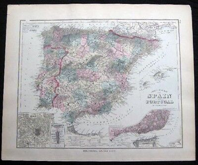1882 Original Map Spain & Portugal + Germany Austria Switzerland Hand Colored