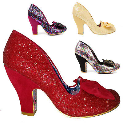 c6de4b5c5a74 Irregular Choice Nick Of Time Glam Glitter High Heel Bow Vintage Wedding  Shoes