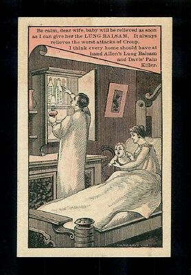 Parents Nurse Their Sick Baby-1880s Victorian Trade Card