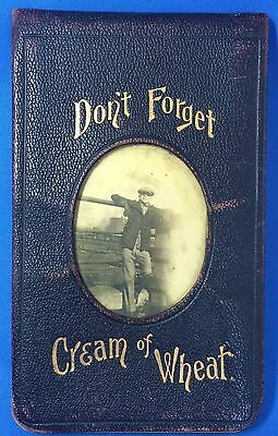 Original Vintge Don't Forget CREAM of WHEAT Cereal Advertising Leather Memo Book