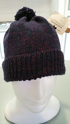Hand Knitted Wool and Bamboo Mens or Womens Beanie Navy and Purple flecks