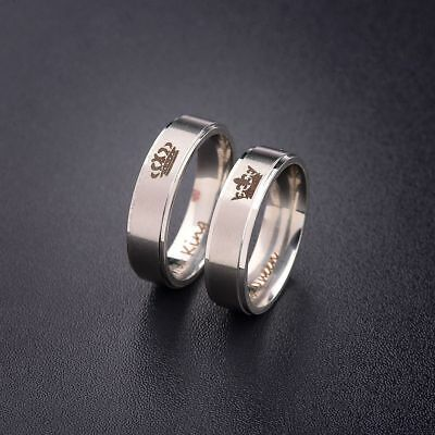 Charm His Queen And Her King Titanium Steel Rings Lovers Couple Ring Anniversary