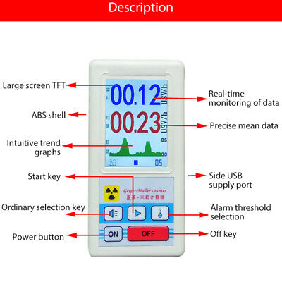 Geiger Counter Nuclear Radiation Detector Dosimeter Meter Tester Beta GammaX-ray