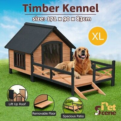 XL Wooden Pet Dog House Timber Kennel All-Weather Elevated w/ Patio Outdoor Cage
