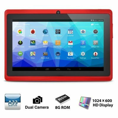 """Quad Core 7"""" inch HD Android 4.4 Tablet PC 8GB WIFI Bluetooth 2 Camera Red US"""