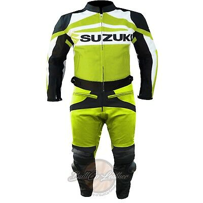 LEATHER MOTORCYCLE SUIT. Suzuki GSXR Fluorescent. Biker Motorbike Jacket Trouser