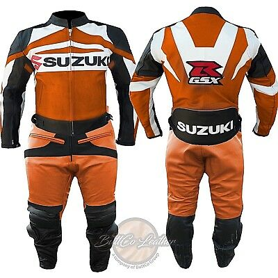 Suzuki GSXR Orange SUIT Biker Motorcycle Trouser Armour LEATHER MOTORBIKE Jacket