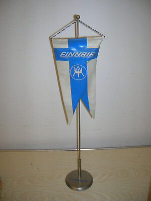 VINTAGE - FINNAIR Airlines Wimpel & Ständer TABLE FLAG - 60er/70er Jahre